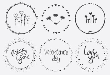 Hand Drawn Valentine's set with  wreath, heart and hand lettering quotes.