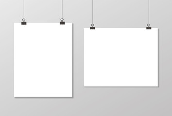 Empty vector paper frame mockup. With paper clip