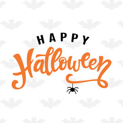 Happy Halloween typography poster with handwritten calligraphy text