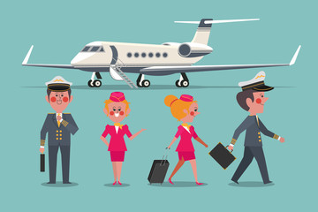 Pilot with Flight attendant aircraft personaled Character design flat style