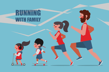 Running with family Character people design flat style