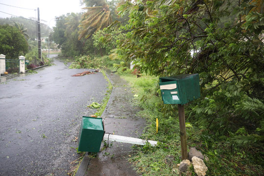 A mail box lies on the ground after the passage of Hurricane Maria in Guadeloupe island