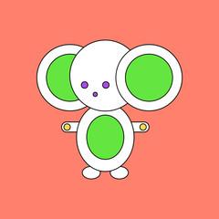 flat vector icon design collection Cheburashka Russian cartoon character