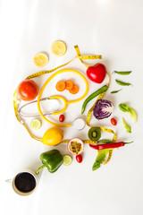 Top view vegetarian fresh food healthy care.