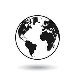 Spoed Foto op Canvas Wereldkaart Vector Black Globe world map
