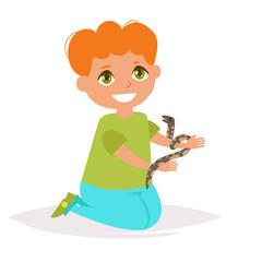 Boy with the snake. Vector. Cartoon