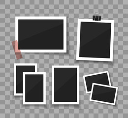 Collect moments. Set Vector photos sticked down with paper tape or paperclip. Retro fotos on white background. Instant photoframe collection.