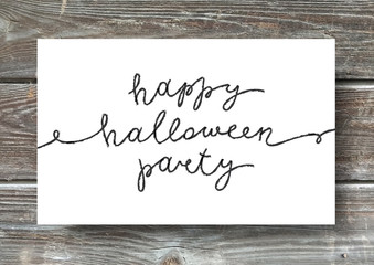 happy halloween party, vector handwritten lettering, halloween poster or greeting card template
