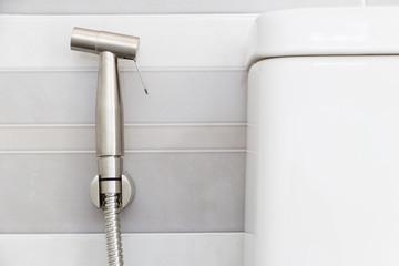 Modern design home bidet spray cleaning flush toilet in bathroom