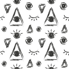 Vector seamless pattern with eye of providence, masonic symbol