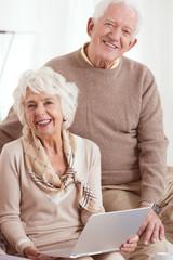 Elder people uses computer