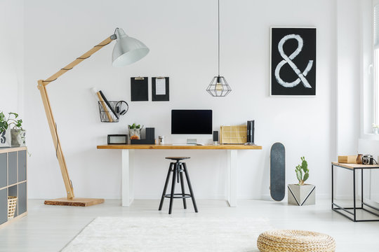 Minimalist hipster room with poster