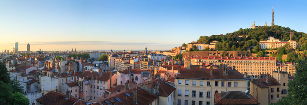 Summer sunrise over Vieux Lyon and Croix Rousse in the city of Lyon, France.