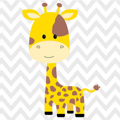 cute giraffe isolated vector illustration