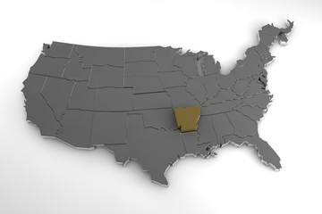 United States of America, 3d metallic map, with Arkansas state highlighted. 3d render