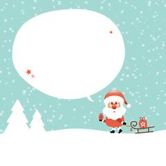 Wall Mural - Santa Sleigh Speechbubble Retro