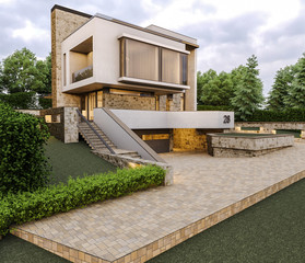 Conceptual renders of modern minimalism private house. 3d illustration