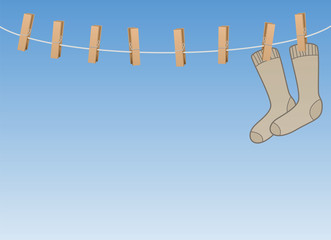 Lonesome socks hanging all alone on a clothes line - symbol for loneliness, solitude, sadness, melancholy of a single person or sorrow of secluded, withdrawn elderly people. Vector illustration.