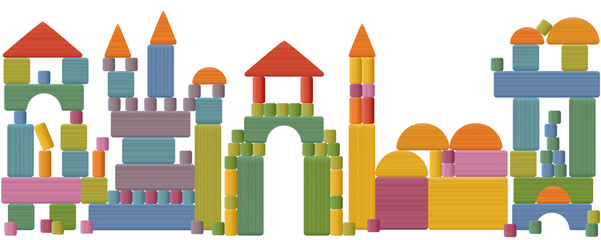 Toy blocks city skyline - fabulous buildings, towers, castles, churches and archways made of many pieces, colorful bricks, roofs, spires, pillars and archs. Vector illustration on white background.