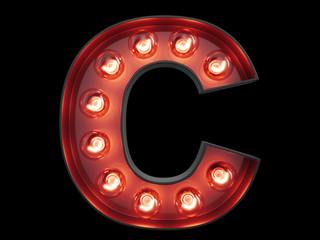 Light bulb alphabet character C font