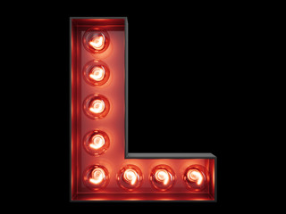 Light bulb alphabet character L font