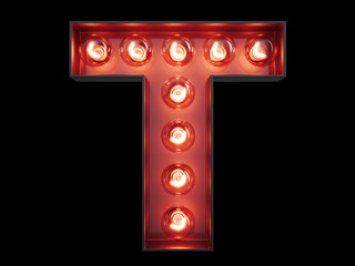 Light bulb alphabet character T font