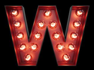 Light bulb alphabet character W font
