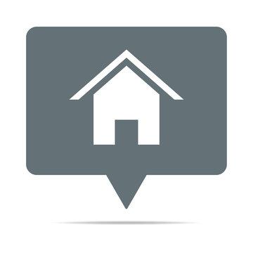 Graue Sprechblase mit Haus