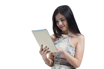 Portrait of beautiful young businesswoman looking tablet on isolated. Asia people businesswoman.