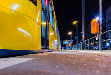 Berlin Tram Stop at Night / Clean Tram Station / Trolley Metrotram / Metro Tram