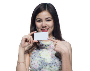 Portrait of beautiful young businesswoman holding card for texture on isolated. Asia people businesswoman.