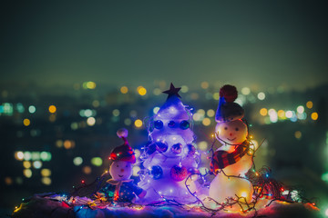 Merry Christmas Bokeh, New Year background. Christmas decoration