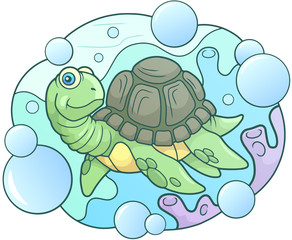 cartoon sea turtle funny illustration