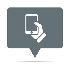 Graue Sprechblase mit Smartphone - Hand