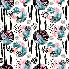 Printed kitchen splashbacks Watercolor Nature Abstract natural seamless pattern inspired by memphis style. Circles filled with tropical leaves, doodle, grunge texture, rough brush strokes. Hand painted watercolour illustration