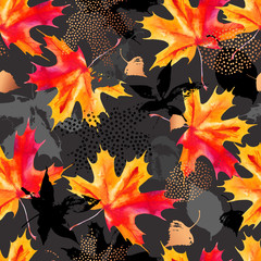 Aluminium Prints Watercolor Nature Autumn leaves watercolor seamless pattern.