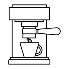 coffee espresso machine front view monochrome silhouette vector illustration