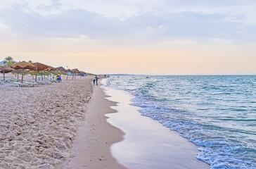The twilight on El Kantaoui beach