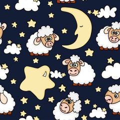 Seamless night dreams with sheep