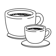 set big and small cup of coffee with handle monochrome silhouette vector illustration