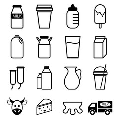 Milk icons set