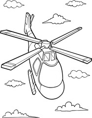 Poster Cartoon draw Cute Helicopter Vector Illustration Art