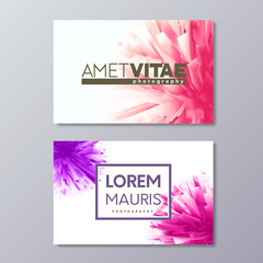 Abstract floral business card templates with colorful vector design elements