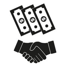 handshake dollars on white background