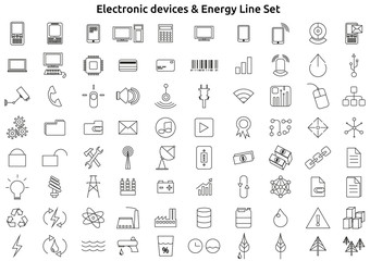 Electronic Devices And Energy Line Icons Set