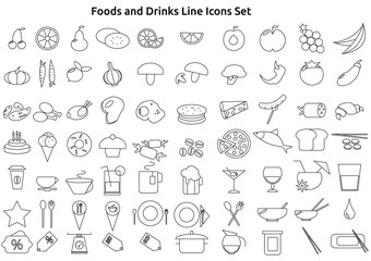 Foods And Drinks Line Icons Set