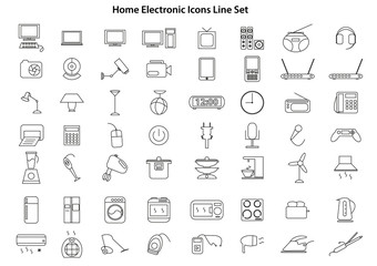 Home Electronic Icons Line Set