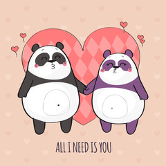 Cute couple of pandas in love. Happy Valentines Day card with panda bears.