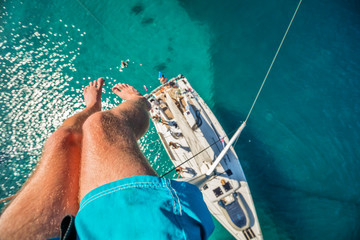 View from high angle of sailing boat. Aerial photography of ship deck