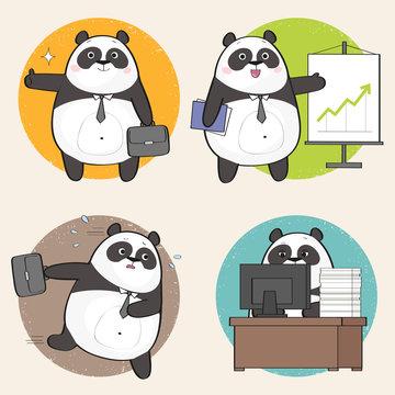 Set of cute panda character at work. Vector illustration